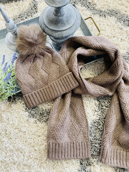 Knitted Beanie & Matching Scarf Set ~ Taupe