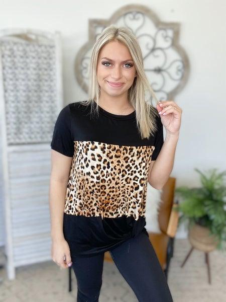 Leopard Panel Twist Top