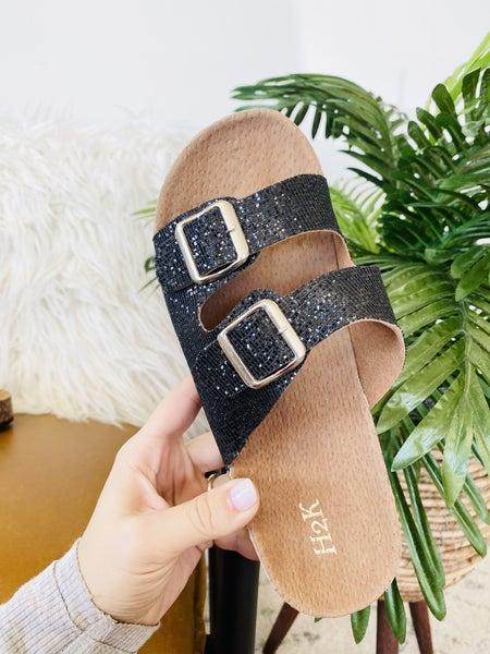 The Karen Sandals- Black Glitter