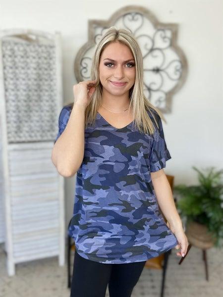 Camo Sister Top- Navy Camo