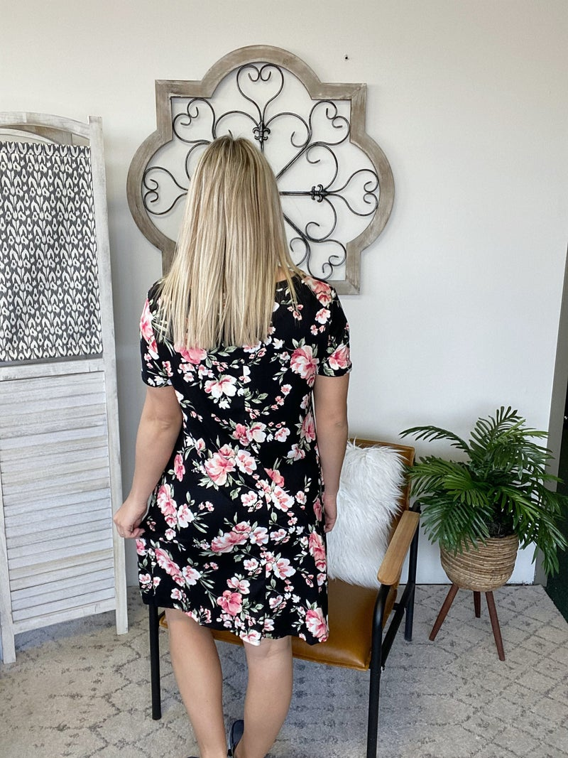 Happening Now Floral Dress- Black