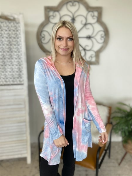 Bonfire Throw On Cardigan- Pink Sky