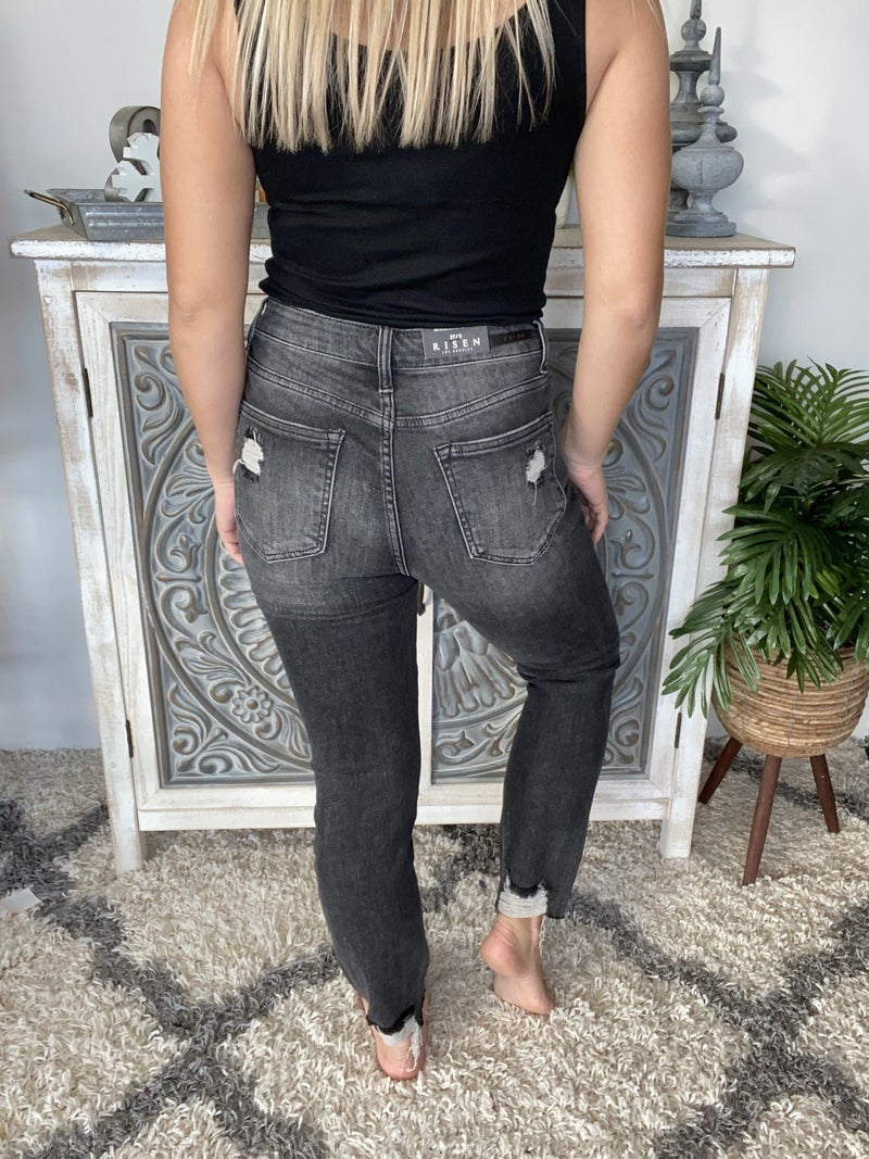 Risen Caught Up Grey Distressed Jeans