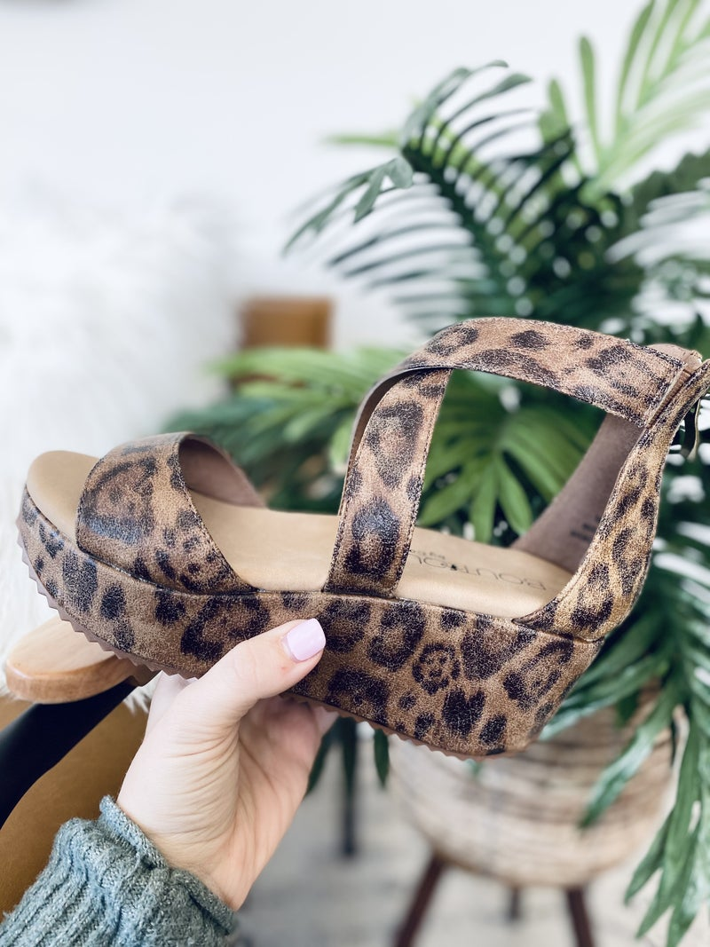 Corky Fay Distressed Leopard Wedge
