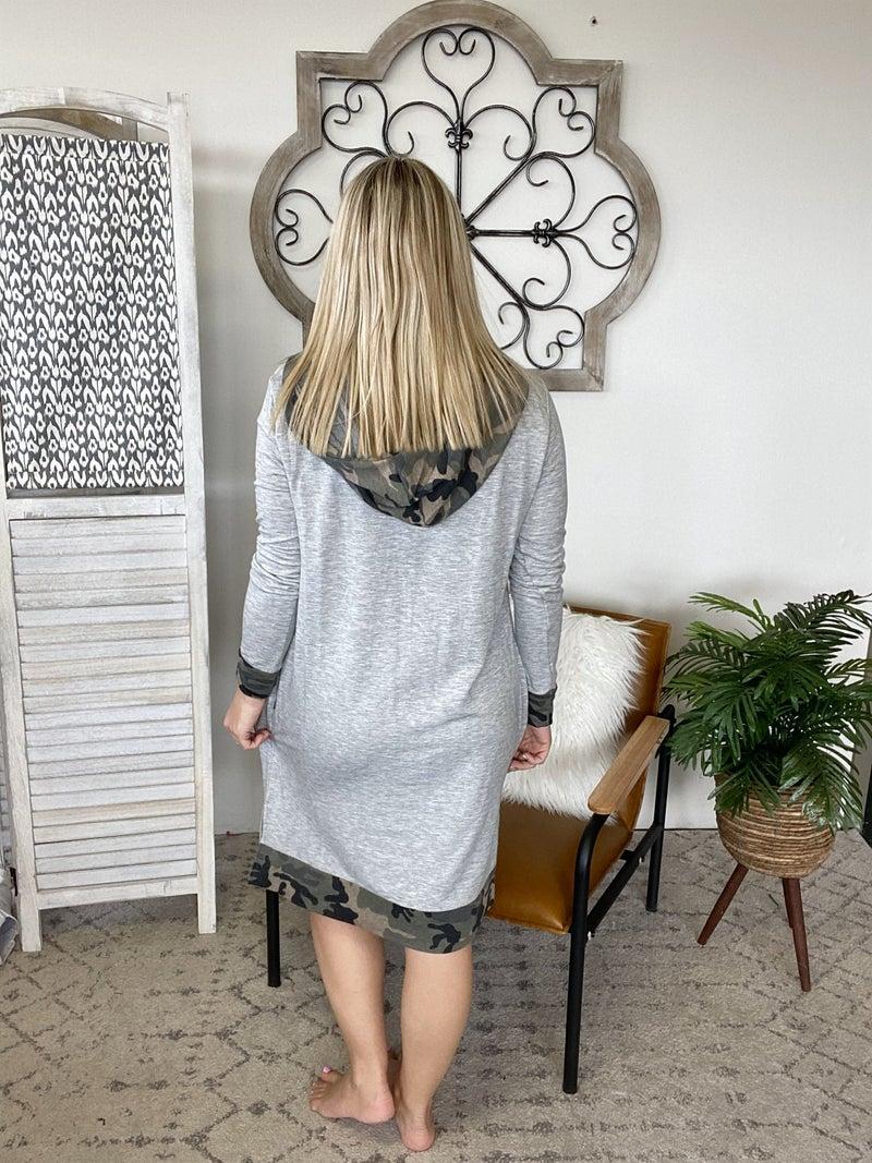 Camo Print Hoodie Dress