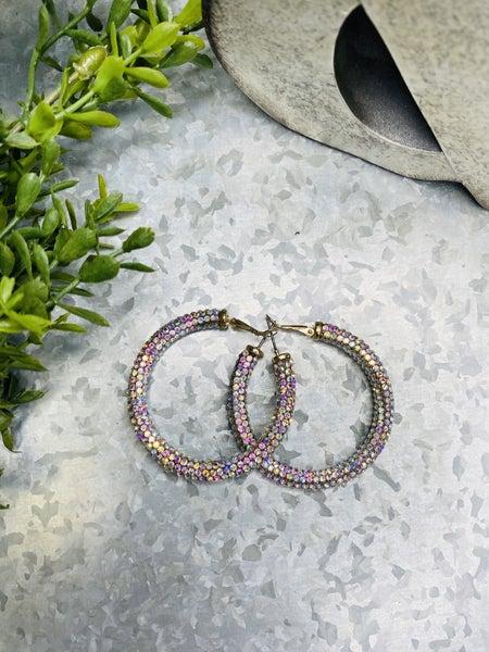 Rhinestone Hoop Earrings~ 2 Colors