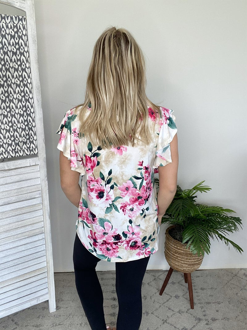 Flower Love Top - Taupe