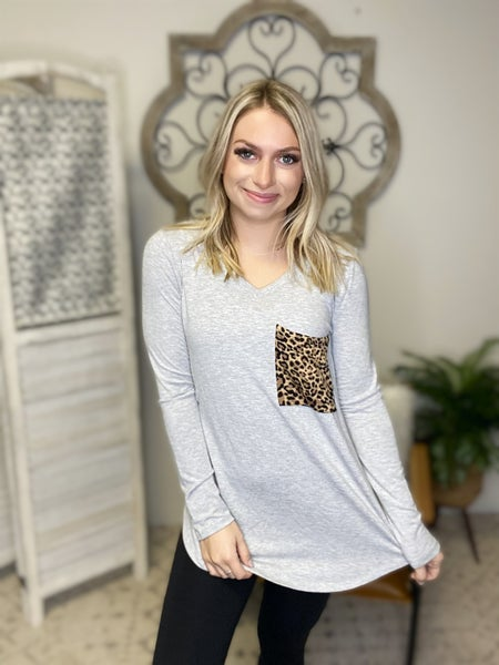 Call Me The Leopard Queen Top- H. Grey