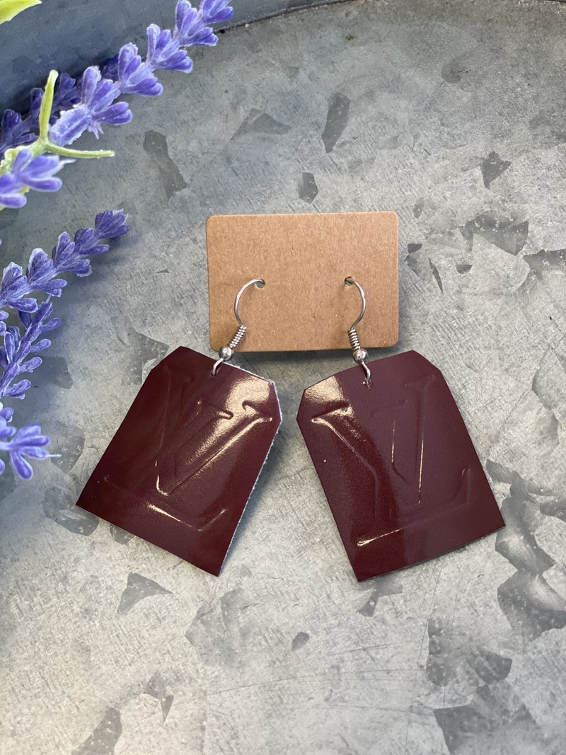 Upcycled LV Ruby Earrings