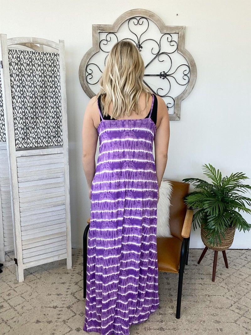 Keep It Flowy Dress- Purple/ Ivory