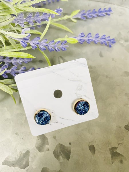 Metallic Druzy Studs- Blue