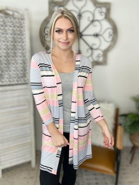 Spring Stripe Long Cardigan