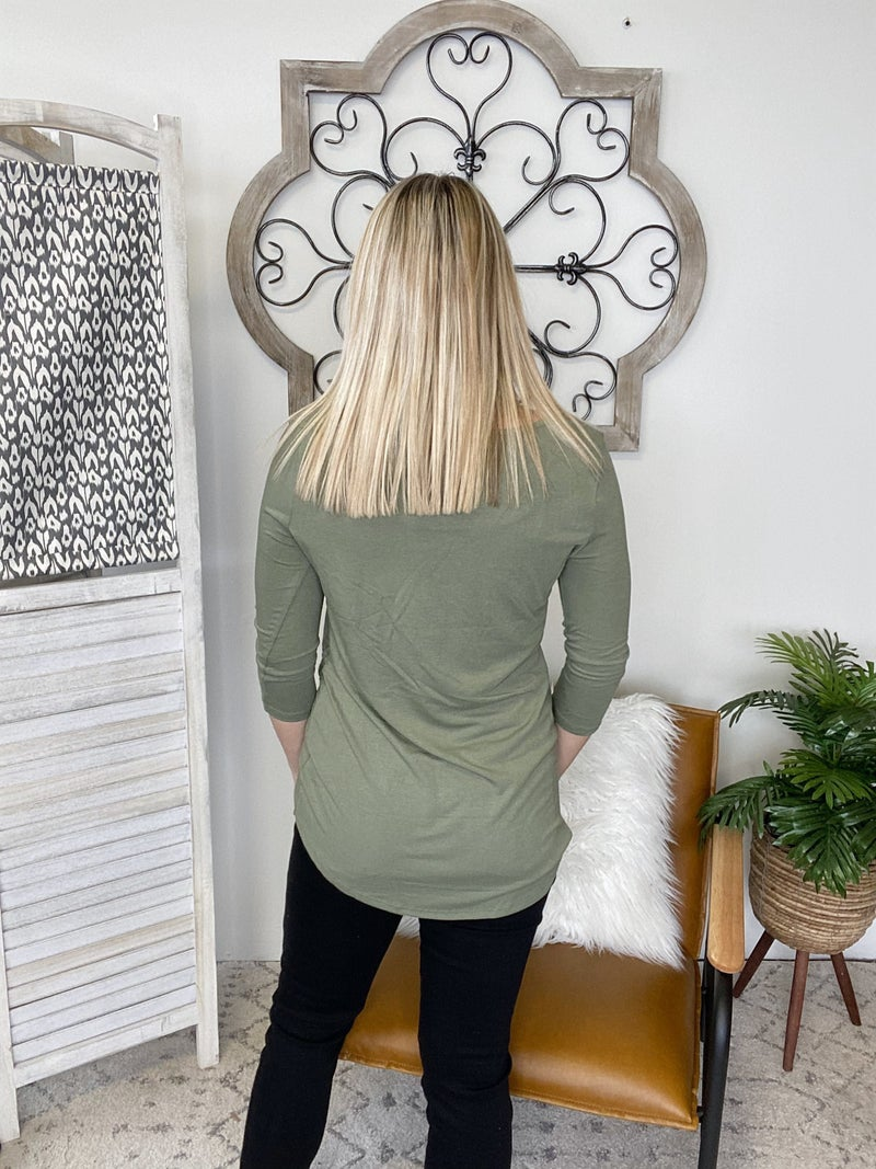 Simple Knot Top- Lt. Olive