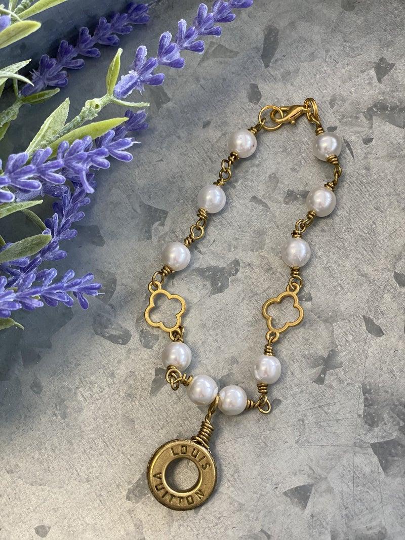Upcycled LV Pearl Bracelet