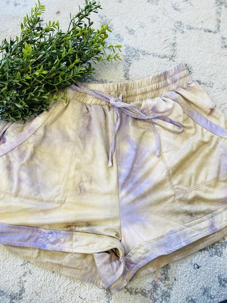 Summer Time Shorts- Taupe/ Purple