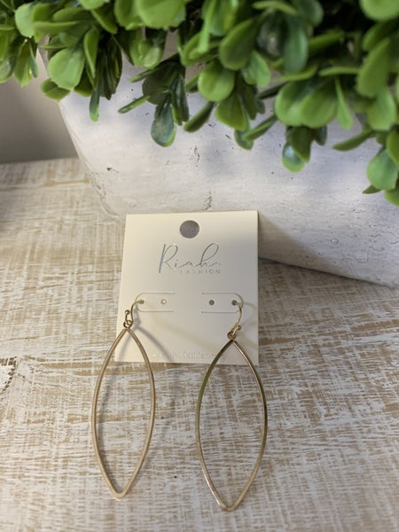 Riah Collection - Marquise Dangle Drop Hook Earrings ~ Matte Gold