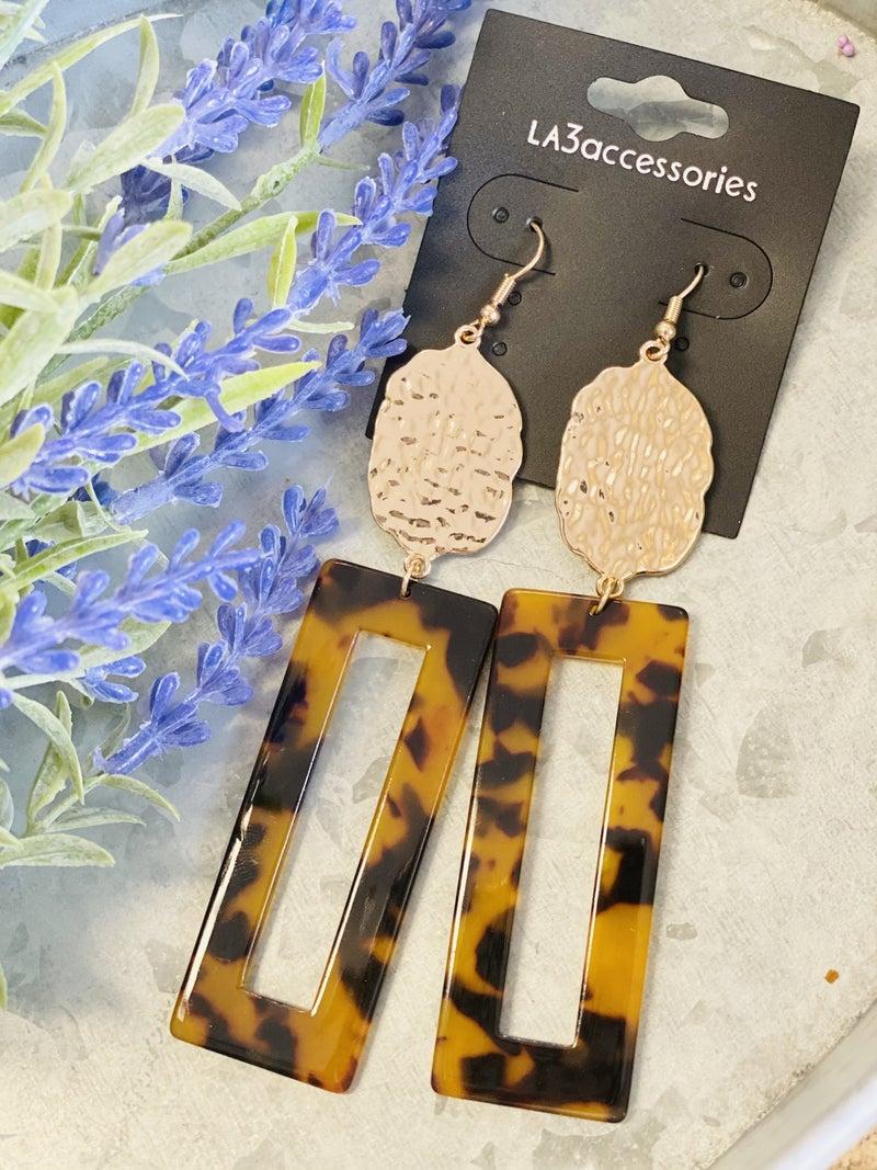 Tortoise Rectangular Earrings