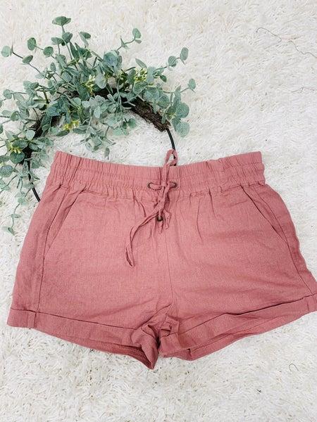 Tell Me Why Linen Shorts ~ Mauve