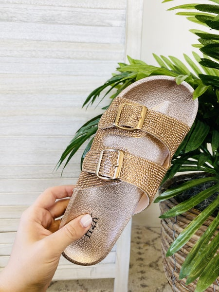 Turning Heads Rose Gold Sandals