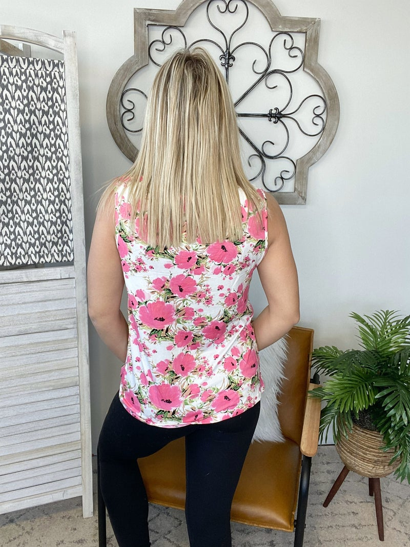 I've Been Looking Top- Floral Coral