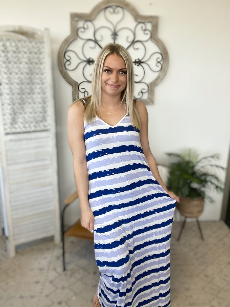 Summer Pool Day Dress- Blue Tie Dye