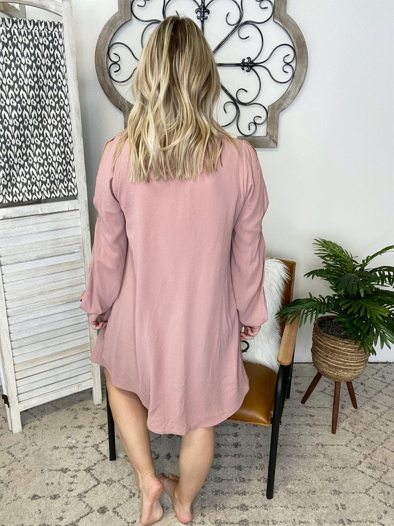 Fashion Me Dress- Dusty Rose