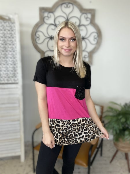 Pool Party Cheetah Top- Black/ Fuchsia
