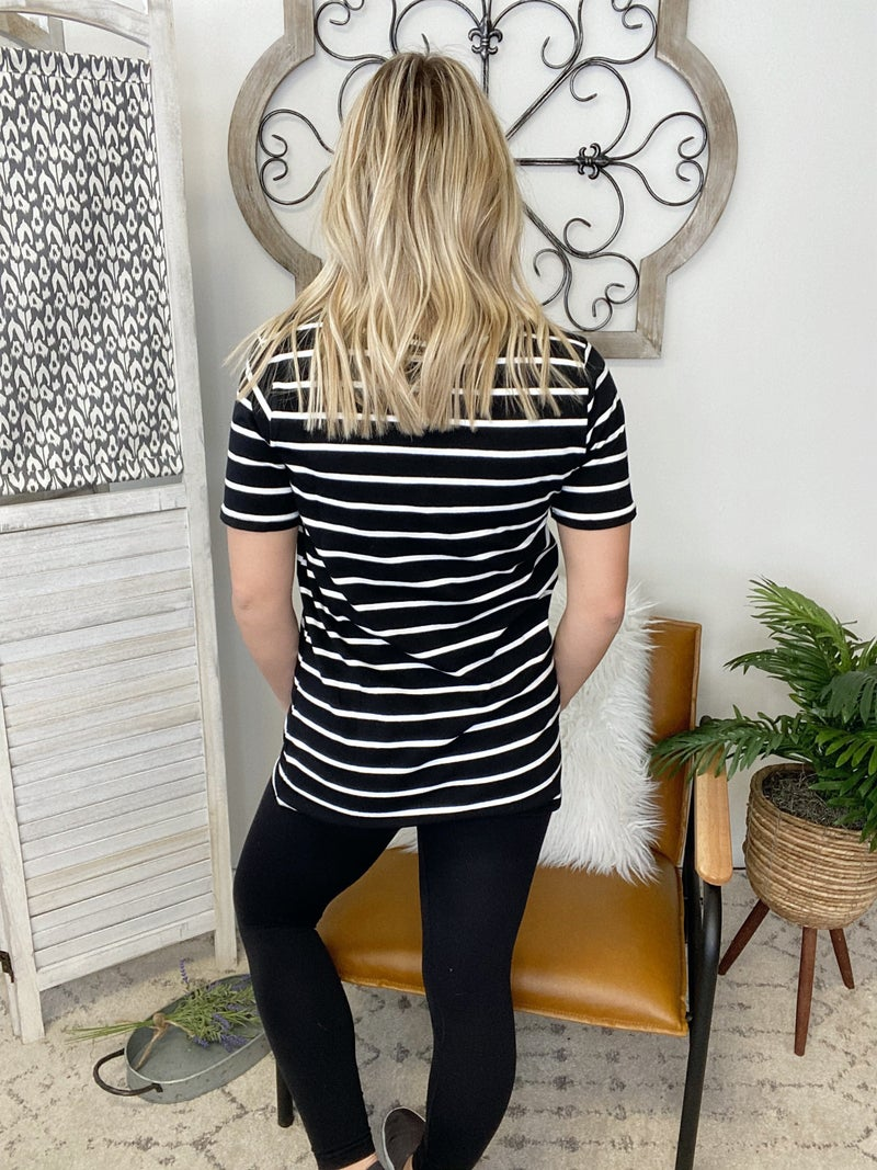On The Moves Top- Black/ Ivory