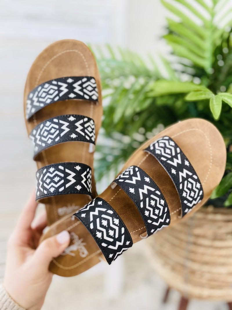 Corky Dafne Sandal- Black/ White Aztec
