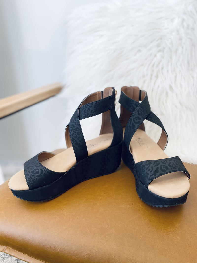 Corky Fay Black Leopard Wedge