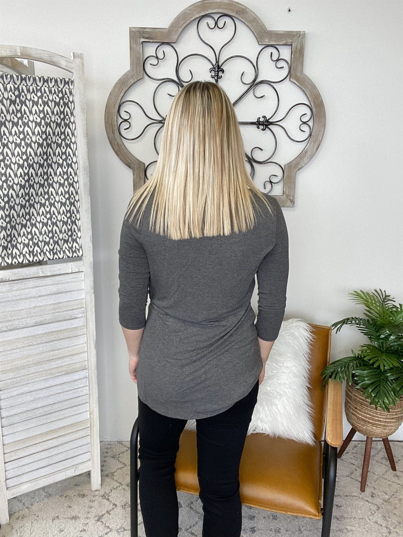 Simple Knot Top- Charcoal
