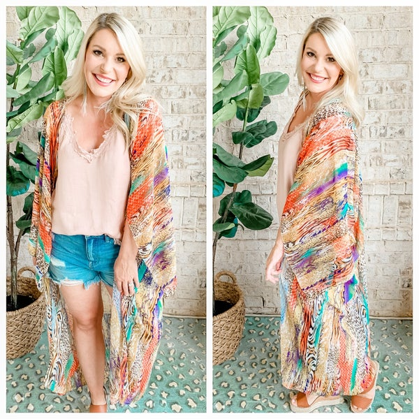 { A MIXED BAG OF TRICKS KIMONO} *Final Sale*