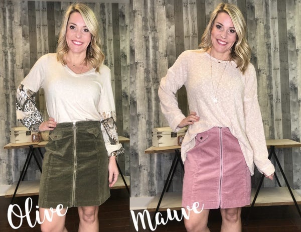 {SUNDAY STEALS- CALLING YOU THERE CORD SKIRT} *Final Sale*