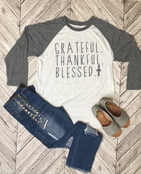 {JANE MARIE - GRATEFUL, THANKFUL, BLESSED TEE} *Final Sale*