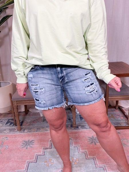 Judy Blue- Mid Rise Patch Cutoff Shorts