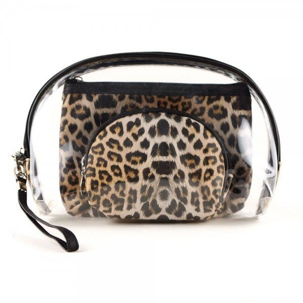 CLEAR LEOPARD 3 PC TRAVEL SET *Final Sale*