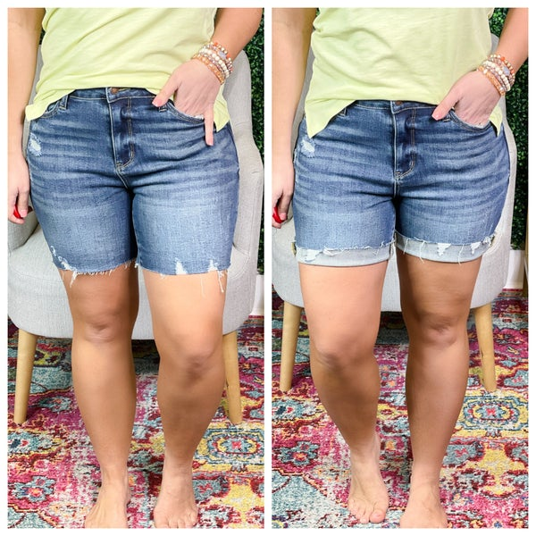 Judy Blue High Rise Mid Thigh Shorts