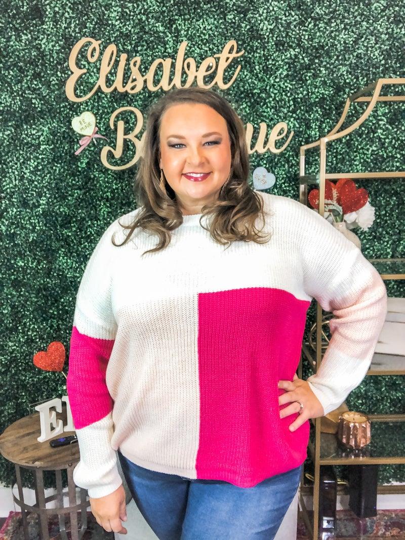 Plus -Color Block Sweater