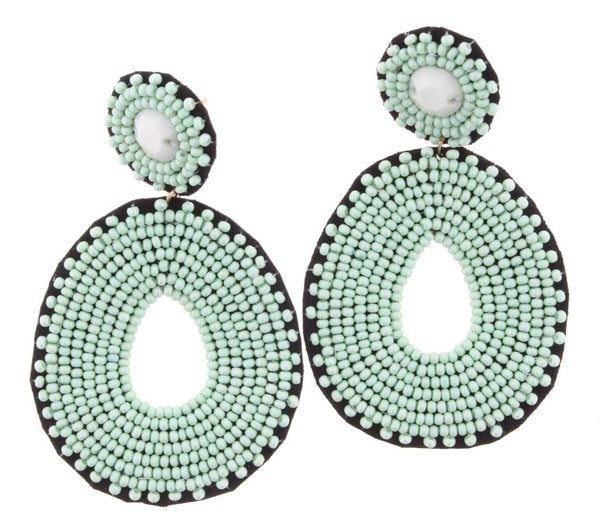 """{""""MINT"""" FOR YOU SEED BEAD EARRINGS}"""