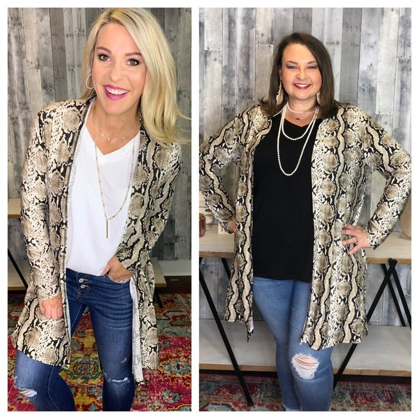{REG AND PLUS LONG SNAKE SKIN CARDI}