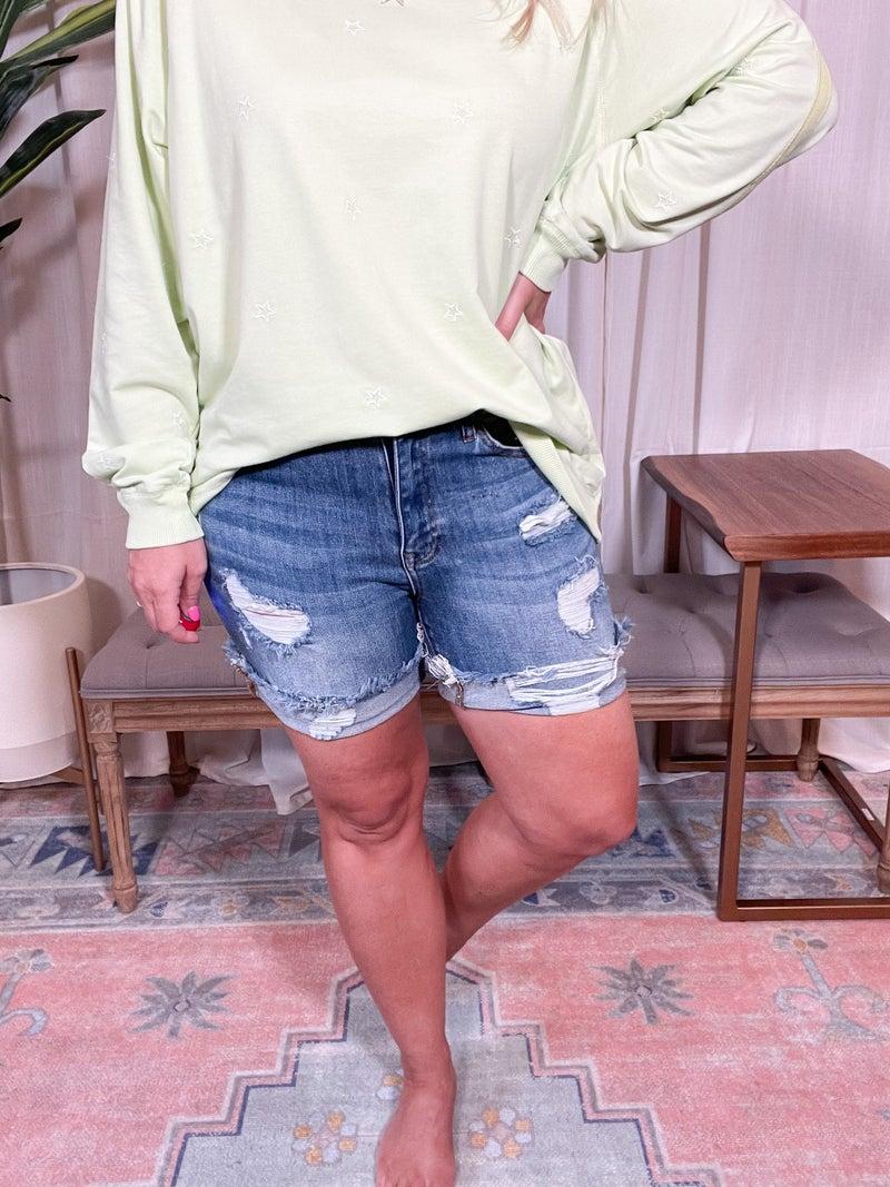 Plus and Reg- Risen Distressed Cuff Shorts