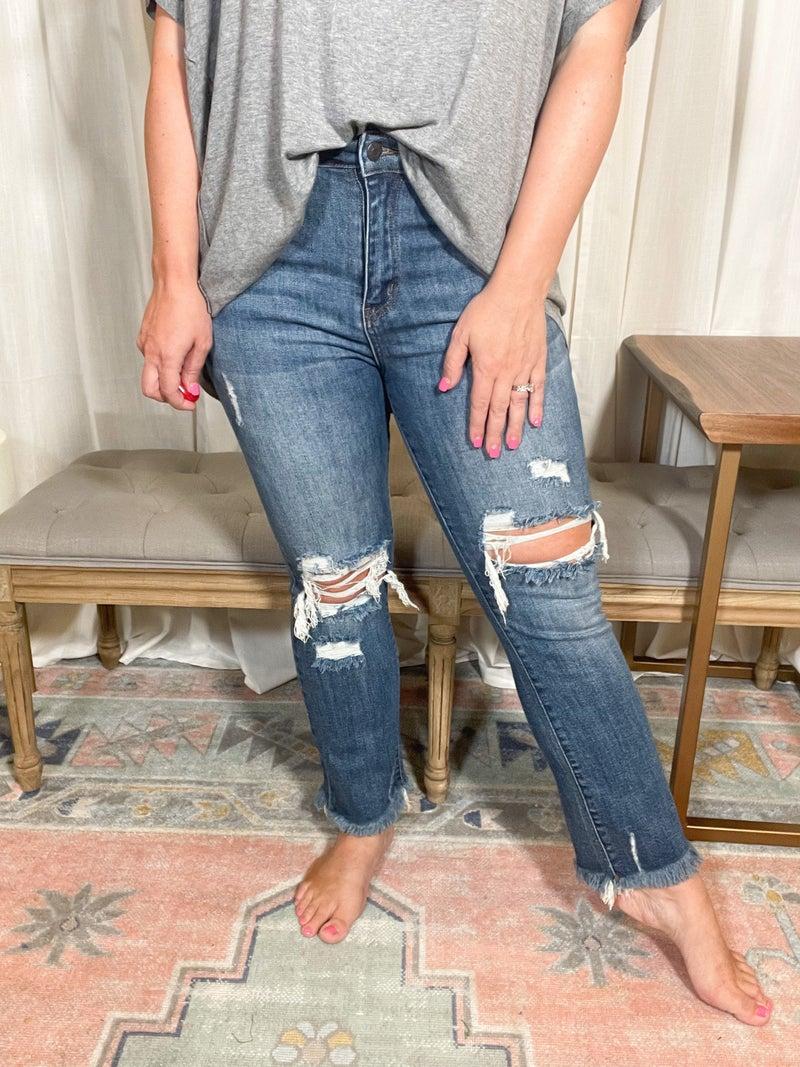 High Waisted Straight Leg- Risen Jeans