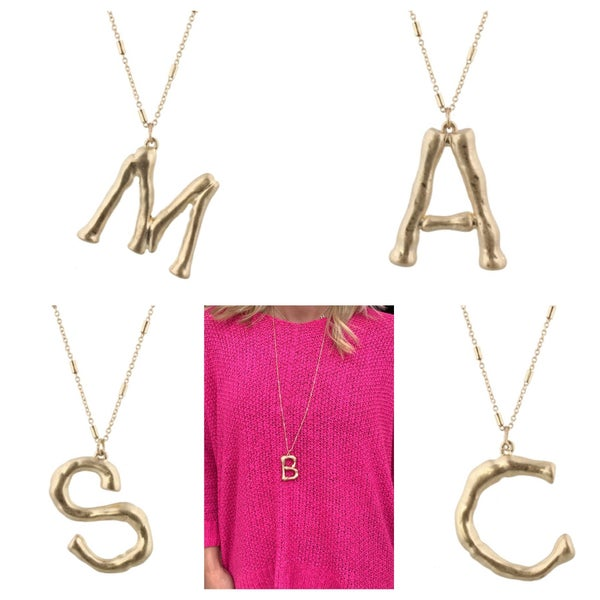 {LARGE GOLD BRANCH INITIAL NECKLACE} *Final Sale*