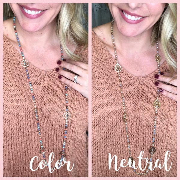 {JANE MARIE - LONG LAYERED BEAD NECKLACE}
