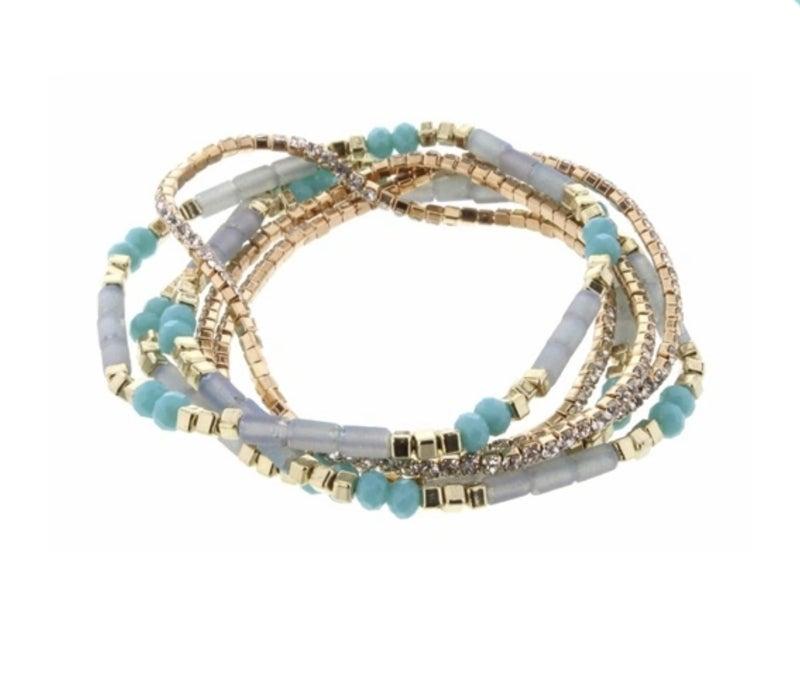 Aqua/Blue Stretchy Stackable Bracelets