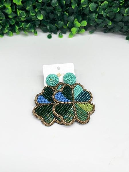 Beaded Clover Earrings
