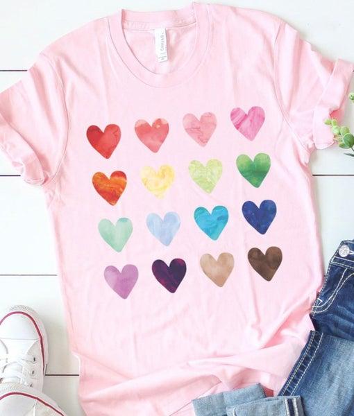 Watercolor Heart Grid Tee