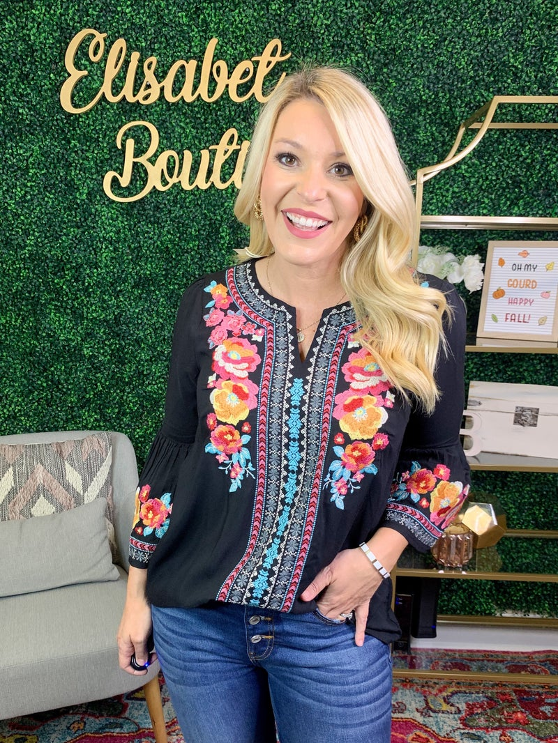 PLUS AND REG- EMBROIDERED WONDER TOP