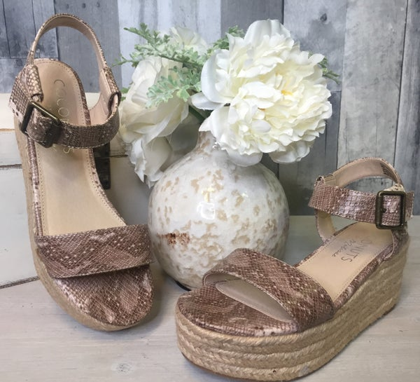 {COCONUTS-  MUTED NATURAL SNAKESKIN ESPADRILLE}