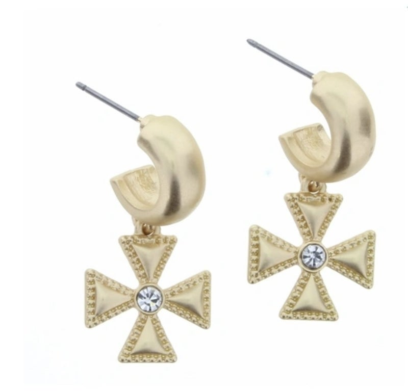 Cross Huggle Earrings
